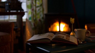 book fireplace