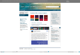 screenshot of Very Short Introductions homepage